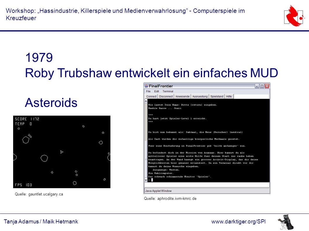 """Tanja Adamus / Maik Hetmankwww.darktiger.org/SPI Workshop: """"Hassindustrie, Killerspiele und Medienverwahrlosung"""" - Computerspiele im Kreuzfeuer 1979 R"""