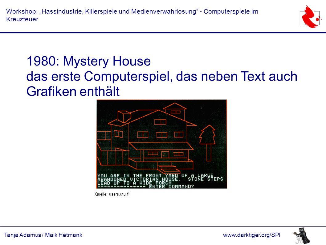 """Tanja Adamus / Maik Hetmankwww.darktiger.org/SPI Workshop: """"Hassindustrie, Killerspiele und Medienverwahrlosung"""" - Computerspiele im Kreuzfeuer 1980:"""