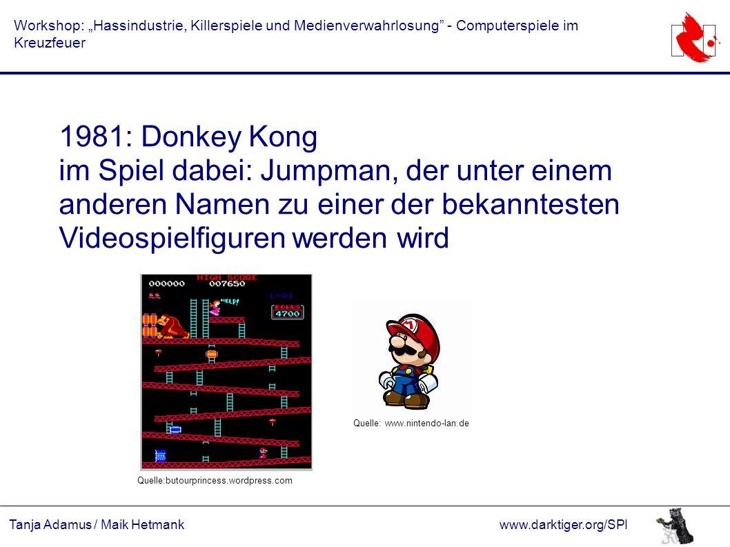 """Tanja Adamus / Maik Hetmankwww.darktiger.org/SPI Workshop: """"Hassindustrie, Killerspiele und Medienverwahrlosung"""" - Computerspiele im Kreuzfeuer 1981:"""