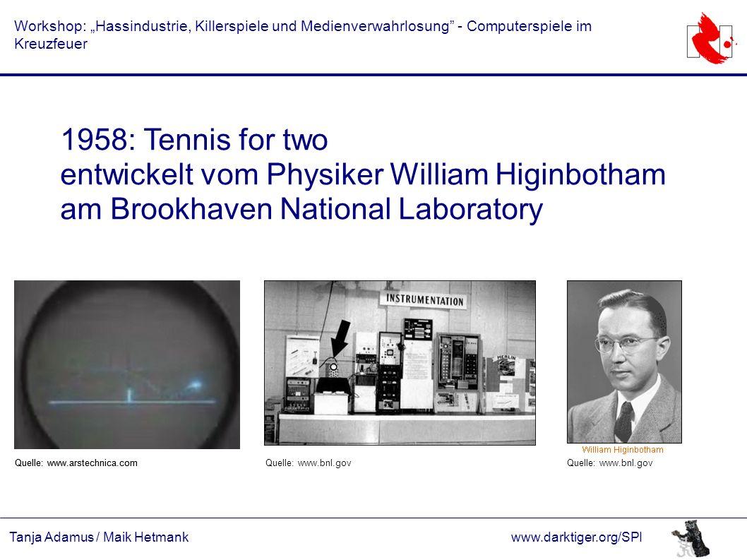 """Tanja Adamus / Maik Hetmankwww.darktiger.org/SPI Workshop: """"Hassindustrie, Killerspiele und Medienverwahrlosung"""" - Computerspiele im Kreuzfeuer 1958:"""