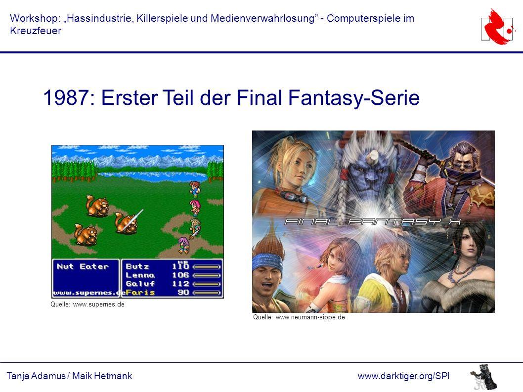 """Tanja Adamus / Maik Hetmankwww.darktiger.org/SPI Workshop: """"Hassindustrie, Killerspiele und Medienverwahrlosung"""" - Computerspiele im Kreuzfeuer 1987:"""