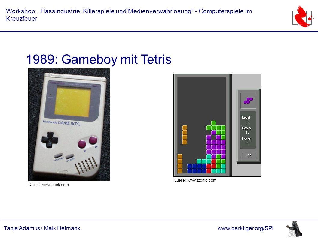 """Tanja Adamus / Maik Hetmankwww.darktiger.org/SPI Workshop: """"Hassindustrie, Killerspiele und Medienverwahrlosung"""" - Computerspiele im Kreuzfeuer 1989:"""