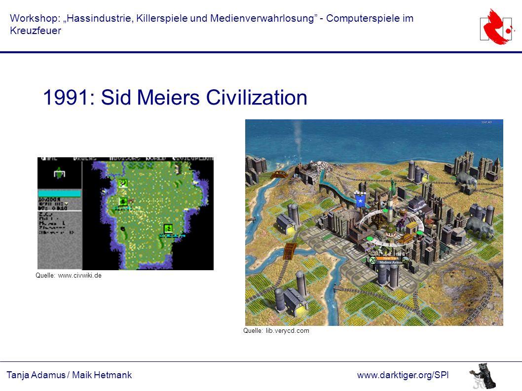 """Tanja Adamus / Maik Hetmankwww.darktiger.org/SPI Workshop: """"Hassindustrie, Killerspiele und Medienverwahrlosung"""" - Computerspiele im Kreuzfeuer 1991:"""