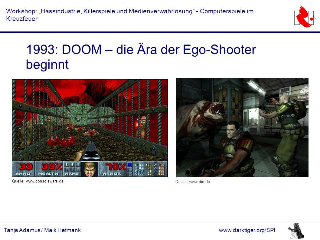 """Tanja Adamus / Maik Hetmankwww.darktiger.org/SPI Workshop: """"Hassindustrie, Killerspiele und Medienverwahrlosung"""" - Computerspiele im Kreuzfeuer 1993:"""