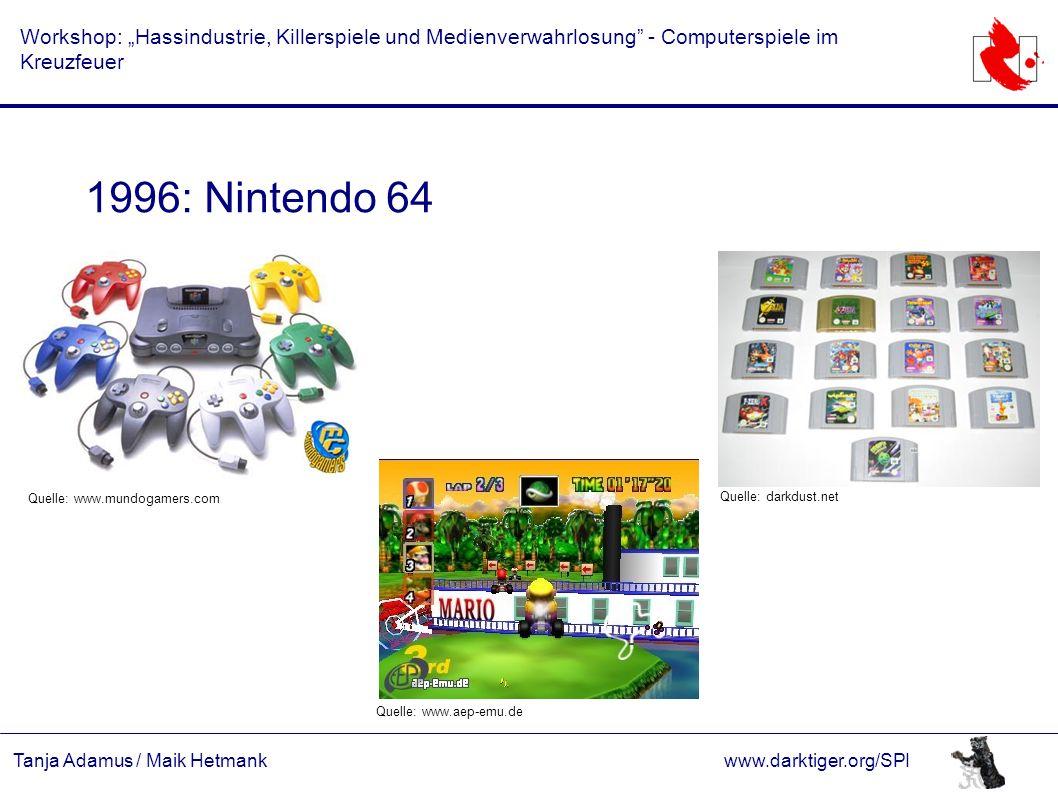 """Tanja Adamus / Maik Hetmankwww.darktiger.org/SPI Workshop: """"Hassindustrie, Killerspiele und Medienverwahrlosung"""" - Computerspiele im Kreuzfeuer 1996:"""