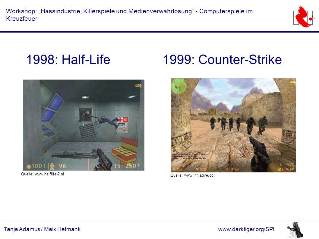 """Tanja Adamus / Maik Hetmankwww.darktiger.org/SPI Workshop: """"Hassindustrie, Killerspiele und Medienverwahrlosung"""" - Computerspiele im Kreuzfeuer 1998:"""