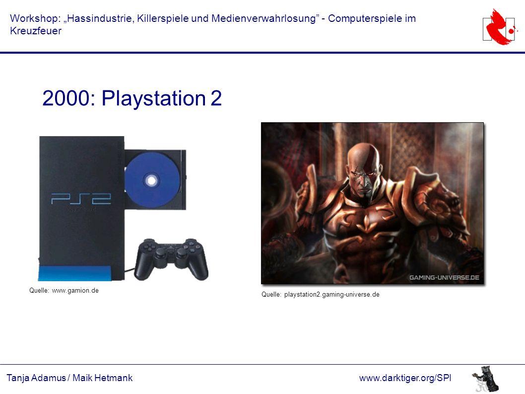 """Tanja Adamus / Maik Hetmankwww.darktiger.org/SPI Workshop: """"Hassindustrie, Killerspiele und Medienverwahrlosung"""" - Computerspiele im Kreuzfeuer 2000:"""