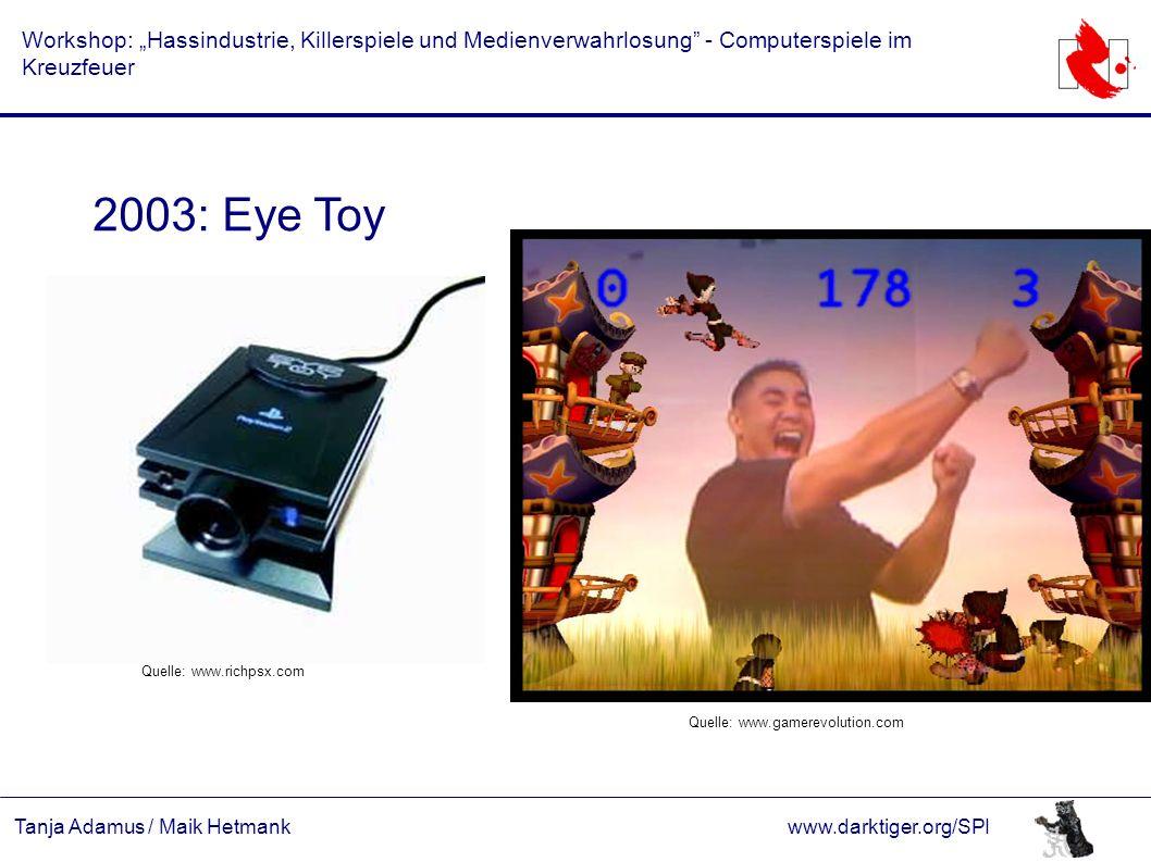 """Tanja Adamus / Maik Hetmankwww.darktiger.org/SPI Workshop: """"Hassindustrie, Killerspiele und Medienverwahrlosung"""" - Computerspiele im Kreuzfeuer 2003:"""