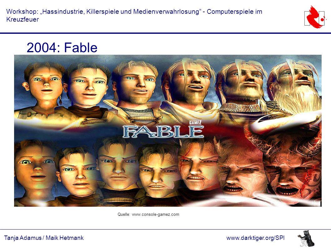 """Tanja Adamus / Maik Hetmankwww.darktiger.org/SPI Workshop: """"Hassindustrie, Killerspiele und Medienverwahrlosung"""" - Computerspiele im Kreuzfeuer 2004:"""