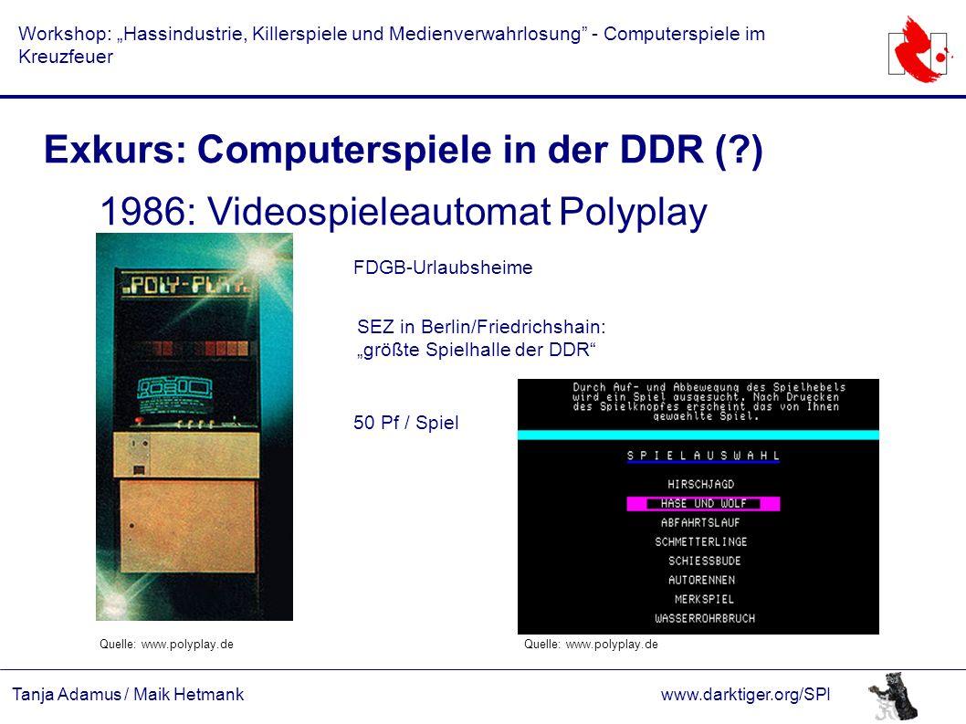 """Tanja Adamus / Maik Hetmankwww.darktiger.org/SPI Workshop: """"Hassindustrie, Killerspiele und Medienverwahrlosung"""" - Computerspiele im Kreuzfeuer Exkurs"""