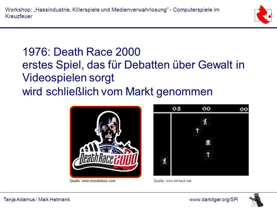 """Tanja Adamus / Maik Hetmankwww.darktiger.org/SPI Workshop: """"Hassindustrie, Killerspiele und Medienverwahrlosung"""" - Computerspiele im Kreuzfeuer 1976:"""