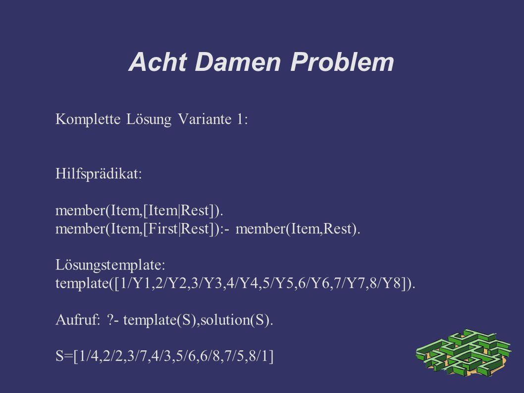 Acht Damen Problem Komplette Lösung Variante 1: Hilfsprädikat: member(Item,[Item|Rest]).