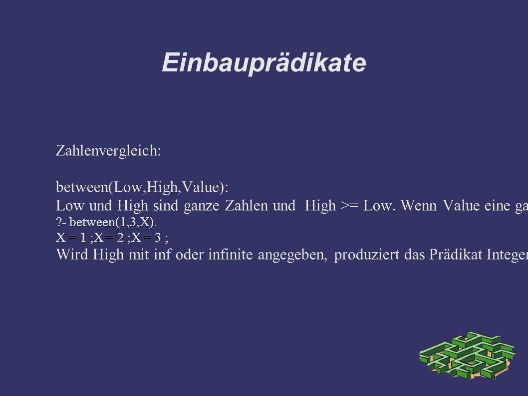 Einbauprädikate Zahlenvergleich: between(Low,High,Value): Low und High sind ganze Zahlen und High >= Low.