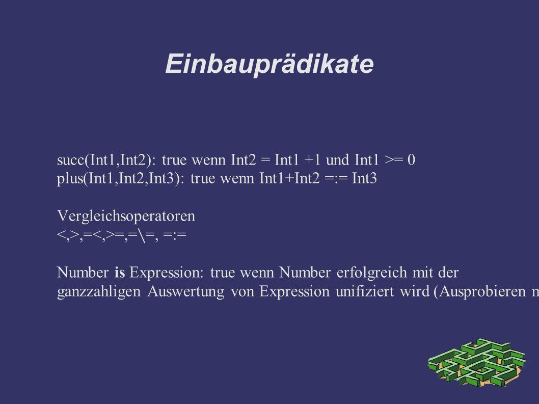 Einbauprädikate succ(Int1,Int2): true wenn Int2 = Int1 +1 und Int1 >= 0 plus(Int1,Int2,Int3): true wenn Int1+Int2 =:= Int3 Vergleichsoperatoren,= =,==, =:= Number is Expression: true wenn Number erfolgreich mit der ganzzahligen Auswertung von Expression unifiziert wird (Ausprobieren mit float Zahl .