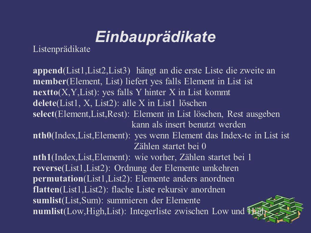 Einbauprädikate Listenprädikate append(List1,List2,List3) hängt an die erste Liste die zweite an member(Element, List) liefert yes falls Element in List ist nextto(X,Y,List): yes falls Y hinter X in List kommt delete(List1, X, List2): alle X in List1 löschen select(Element,List,Rest): Element in List löschen, Rest ausgeben kann als insert benutzt werden nth0(Index,List,Element): yes wenn Element das Index-te in List ist Zählen startet bei 0 nth1(Index,List,Element): wie vorher, Zählen startet bei 1 reverse(List1,List2): Ordnung der Elemente umkehren permutation(List1,List2): Elemente anders anordnen flatten(List1,List2): flache Liste rekursiv anordnen sumlist(List,Sum): summieren der Elemente numlist(Low,High,List): Integerliste zwischen Low und High Listenprädikate append(List1,List2,List3) hängt an die erste Liste die zweite an member(Element, List) liefert yes falls Element in List ist nextto(X,Y,List): yes falls Y hinter X in List kommt delete(List1, X, List2): alle X in List1 löschen select(Element,List,Rest): Element in List löschen, Rest ausgeben kann als insert benutzt werden nth0(Index,List,Element): yes wenn Element das Index-te in List ist Zählen startet bei 0 nth1(Index,List,Element): wie vorher, Zählen startet bei 1 reverse(List1,List2): Ordnung der Elemente umkehren permutation(List1,List2): Elemente anders anordnen flatten(List1,List2): flache Liste rekursiv anordnen sumlist(List,Sum): summieren der Elemente numlist(Low,High,List): Integerliste zwischen Low und High