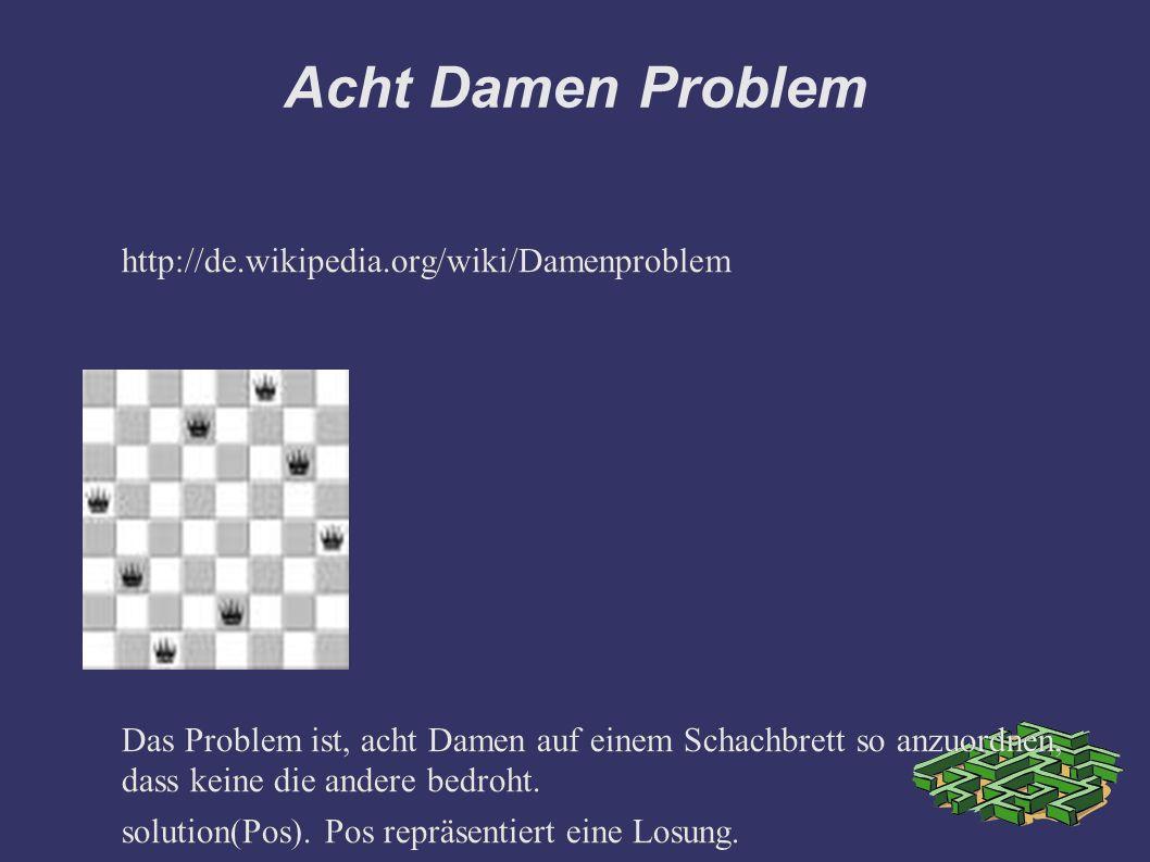 Acht Damen Problem http://de.wikipedia.org/wiki/Damenproblem Das Problem ist, acht Damen auf einem Schachbrett so anzuordnen, dass keine die andere bedroht.