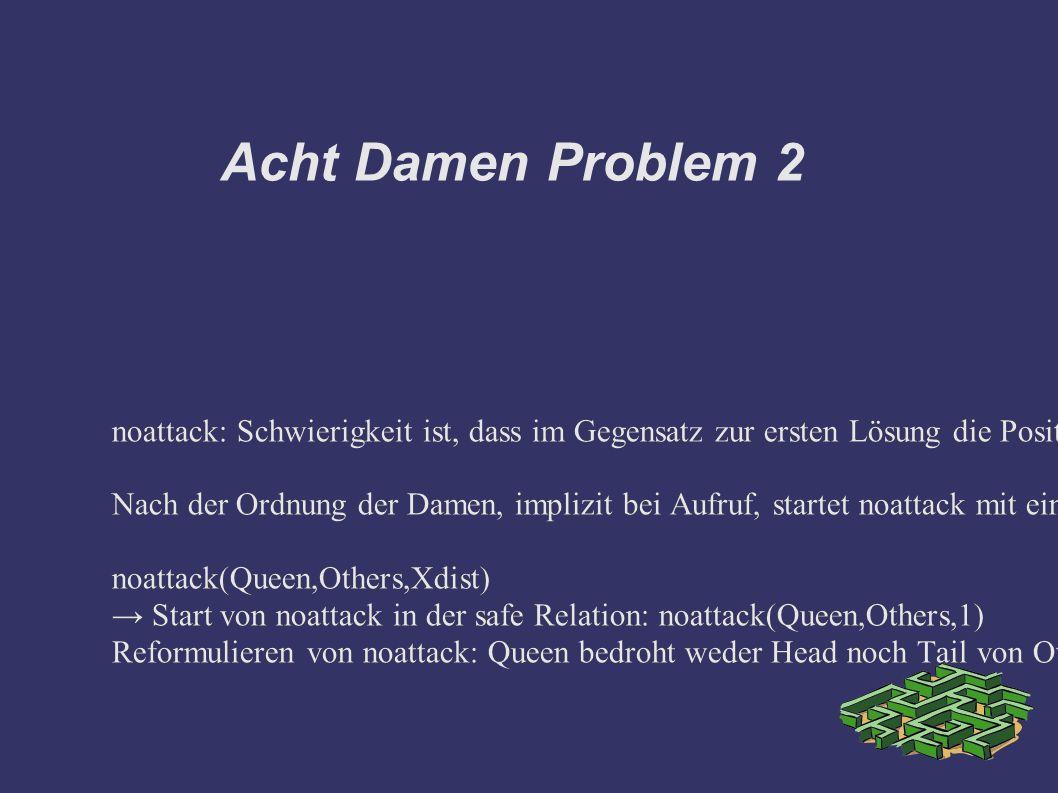 Acht Damen Problem 2 noattack: Schwierigkeit ist, dass im Gegensatz zur ersten Lösung die Positionen nur durch die Y Koordinaten repräsentiert werden.