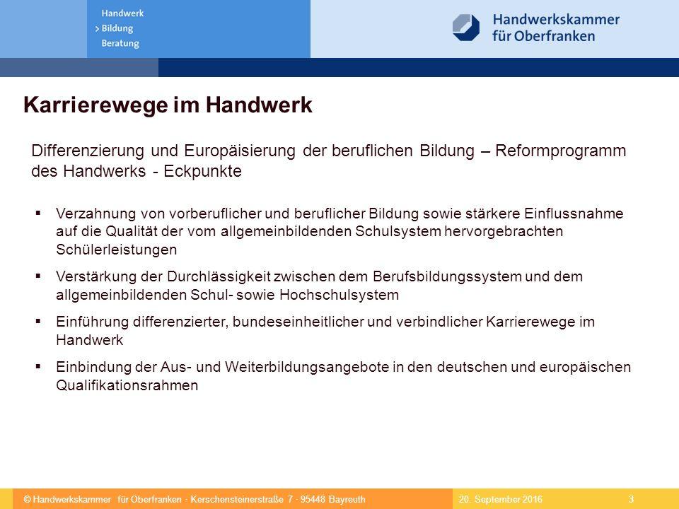© Handwerkskammer für Oberfranken · Kerschensteinerstraße 7 · 95448 Bayreuth 4 1 Gelenktes Praktikum 2 Einstiegsqualifizierung 3 Kfz-Servicemechaniker (2 Jahre) 4 Kfz-Mechatroniker (3,5 Jahre) 5 Kfz-Servicetechniker 6 Kfz-Techniker-Meister 7 Betriebswirt (HWK) 8 Karrierewege im Handwerk Deutscher und Europäischer Qualifikationsrahmen – DQR, EQR 20.