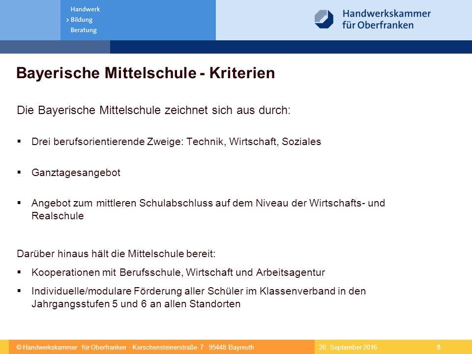© Handwerkskammer für Oberfranken · Kerschensteinerstraße 7 · 95448 Bayreuth 9  Erhalt des dreigliedrigen Schulsystems als Ausdruck individueller Förderung der Schüler  Berufsorientierung als eigenes identitätsstiftendes Schulprofil  Hauptschulabschluss und Quali als Regelabschlüsse auf dem jetzigen Niveau 20.