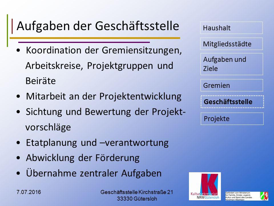 Aufgaben der Geschäftsstelle Koordination der Gremiensitzungen, Arbeitskreise, Projektgruppen und Beiräte Mitarbeit an der Projektentwicklung Sichtung