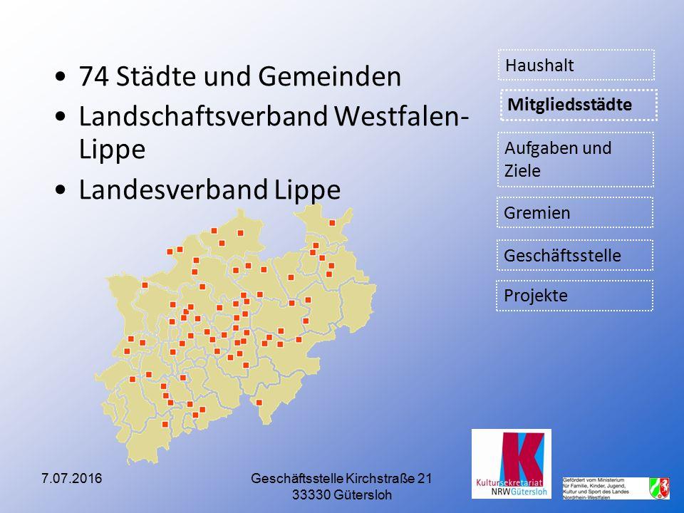 7.07.2016Geschäftsstelle Kirchstraße 21 33330 Gütersloh 74 Städte und Gemeinden Landschaftsverband Westfalen- Lippe Landesverband Lippe Aufgaben und Z