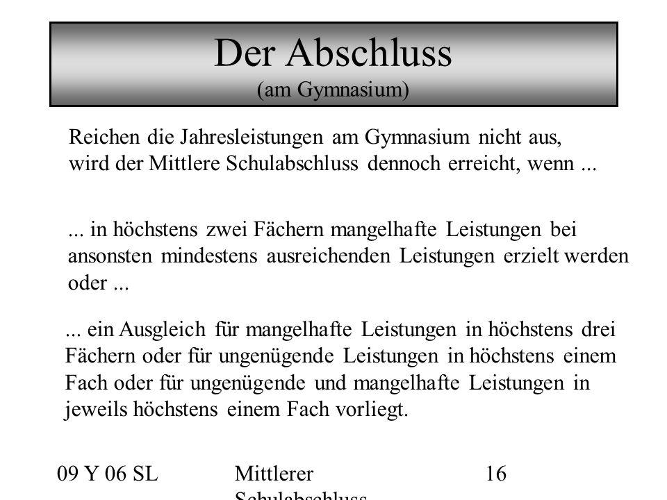 09 Y 06 SLMittlerer Schulabschluss 16 Der Abschluss (am Gymnasium)...