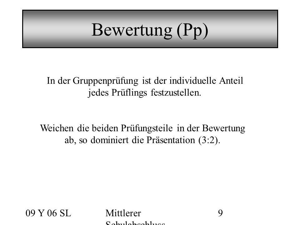 09 Y 06 SLMittlerer Schulabschluss 9 Bewertung (Pp) In der Gruppenprüfung ist der individuelle Anteil jedes Prüflings festzustellen.