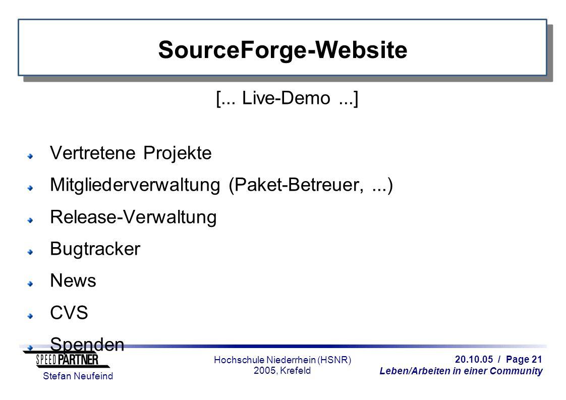 20.10.05 / Page 21 Leben/Arbeiten in einer Community Stefan Neufeind Hochschule Niederrhein (HSNR) 2005, Krefeld SourceForge-Website [... Live-Demo...