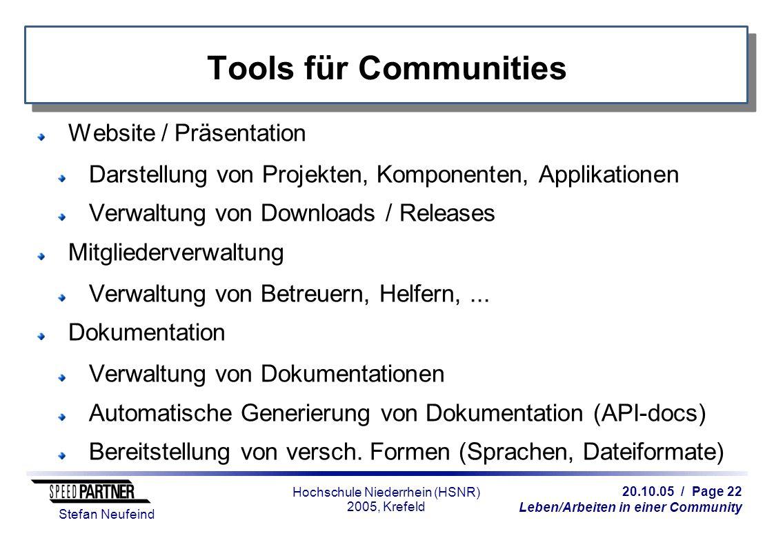 20.10.05 / Page 22 Leben/Arbeiten in einer Community Stefan Neufeind Hochschule Niederrhein (HSNR) 2005, Krefeld Tools für Communities Website / Präse