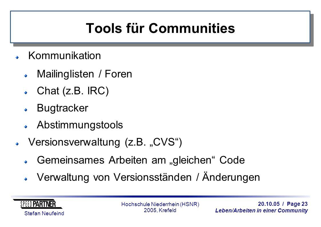 20.10.05 / Page 23 Leben/Arbeiten in einer Community Stefan Neufeind Hochschule Niederrhein (HSNR) 2005, Krefeld Tools für Communities Kommunikation Mailinglisten / Foren Chat (z.B.