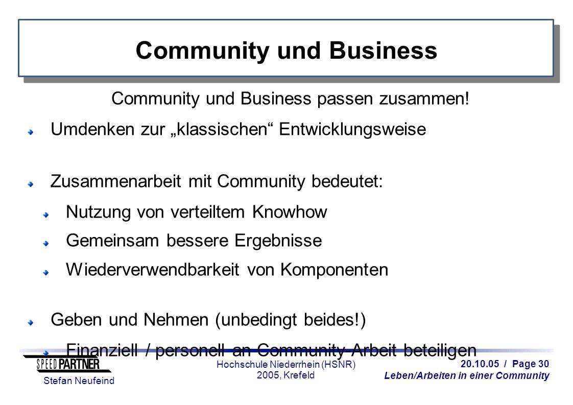 20.10.05 / Page 30 Leben/Arbeiten in einer Community Stefan Neufeind Hochschule Niederrhein (HSNR) 2005, Krefeld Community und Business Community und