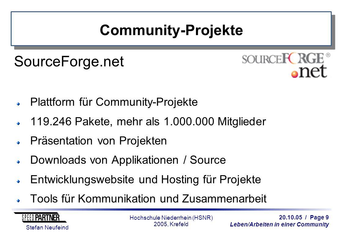 20.10.05 / Page 9 Leben/Arbeiten in einer Community Stefan Neufeind Hochschule Niederrhein (HSNR) 2005, Krefeld Community-Projekte SourceForge.net Pla