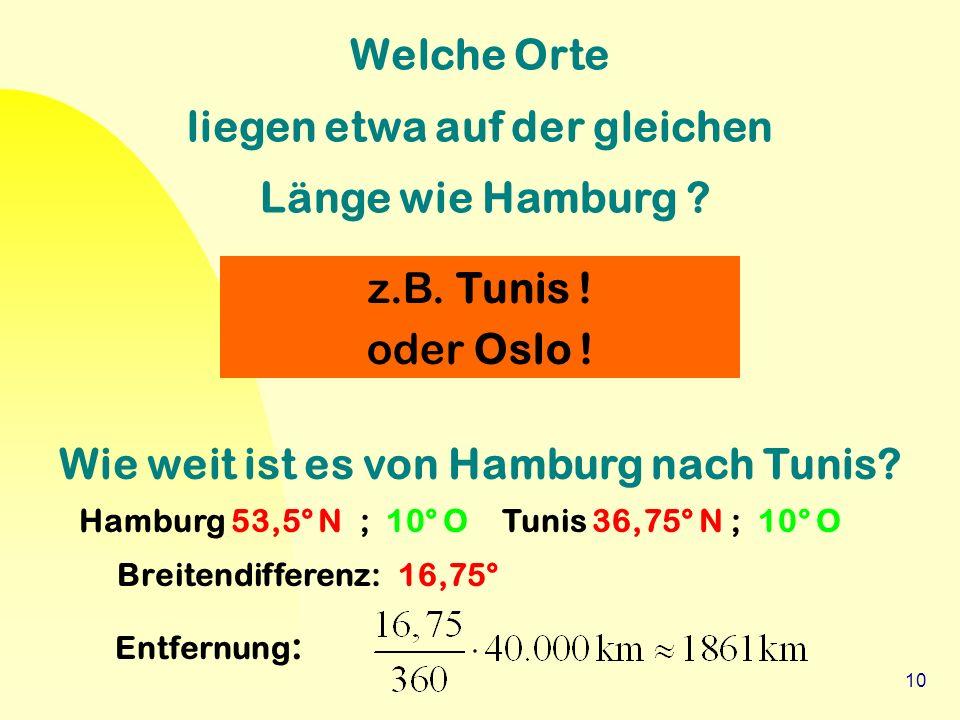 10 Welche Orte liegen etwa auf der gleichen Länge wie Hamburg ? z.B. Tunis ! oder Oslo ! Wie weit ist es von Hamburg nach Tunis? Hamburg 53,5° N ; 10°