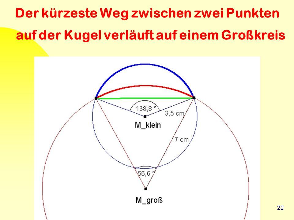 22 Der kürzeste Weg zwischen zwei Punkten auf der Kugel verläuft auf einem Großkreis