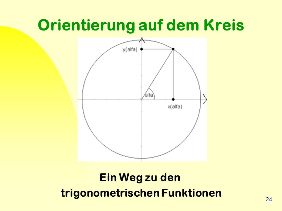 24 Orientierung auf dem Kreis Ein Weg zu den trigonometrischen Funktionen