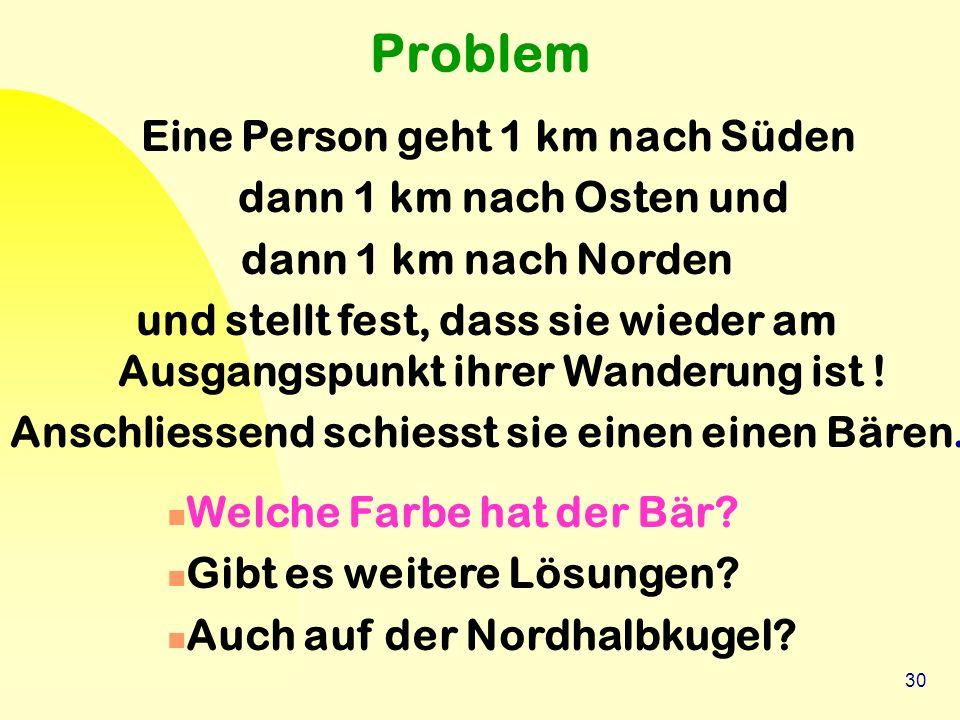 30 Problem Eine Person geht 1 km nach Süden dann 1 km nach Osten und dann 1 km nach Norden und stellt fest, dass sie wieder am Ausgangspunkt ihrer Wan