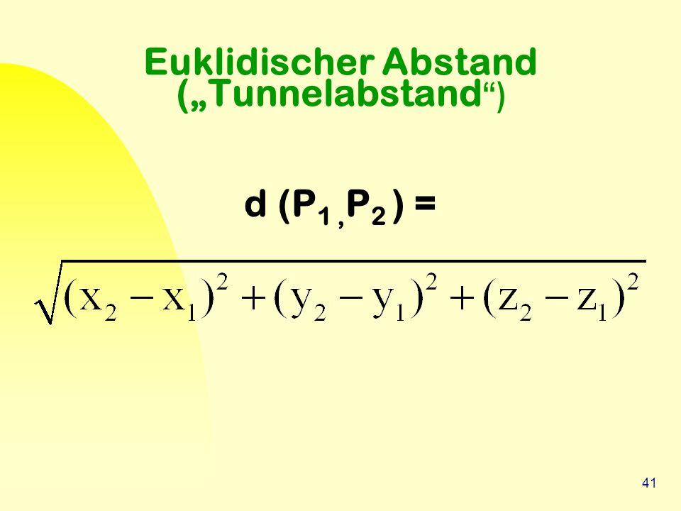 "41 Euklidischer Abstand (""Tunnelabstand "") d (P 1, P 2 ) ="