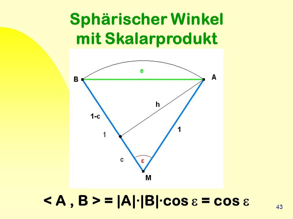 43 Sphärischer Winkel mit Skalarprodukt = |A|·|B|·cos  = cos 