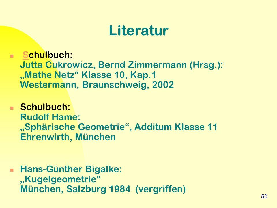 """50 Literatur Schulbuch: Jutta Cukrowicz, Bernd Zimmermann (Hrsg.): """"Mathe Netz"""" Klasse 10, Kap.1 Westermann, Braunschweig, 2002S Schulbuch: Rudolf Ham"""