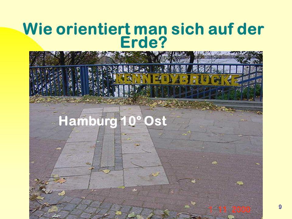 9 Wie orientiert man sich auf der Erde? Hamburg 10° Ost