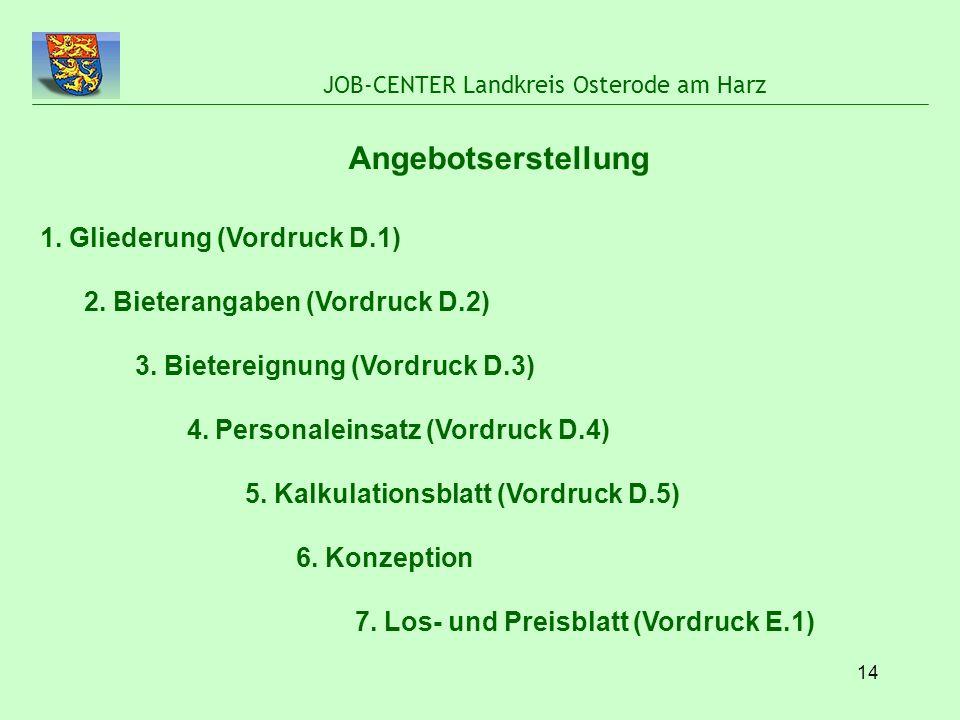 14 JOB-CENTER Landkreis Osterode am Harz Angebotserstellung 1. Gliederung (Vordruck D.1) 2. Bieterangaben (Vordruck D.2) 3. Bietereignung (Vordruck D.