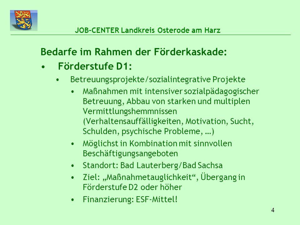 """5 JOB-CENTER Landkreis Osterode am Harz Bedarfe im Rahmen der Förderkaskade : Förderstufen D2/D3: Aktivierungsmaßnahmen für """"50plus Gezielter Abbau von individuellen Vermittlungshemmnissen Motivation, Erarbeitung einer konkreten Arbeitsmarktperspektive Qualifizierung bzw."""