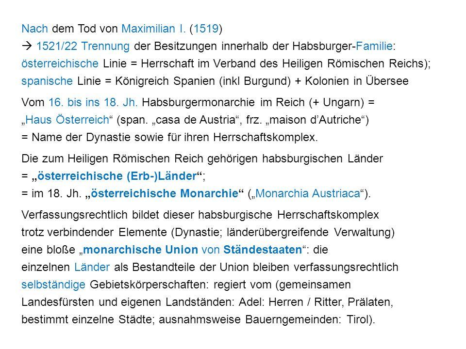 Nach dem Tod von Maximilian I.