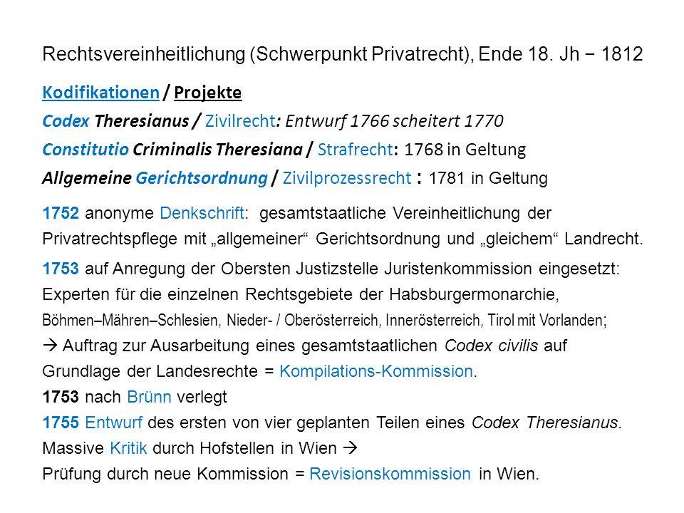 Rechtsvereinheitlichung (Schwerpunkt Privatrecht), Ende 18.
