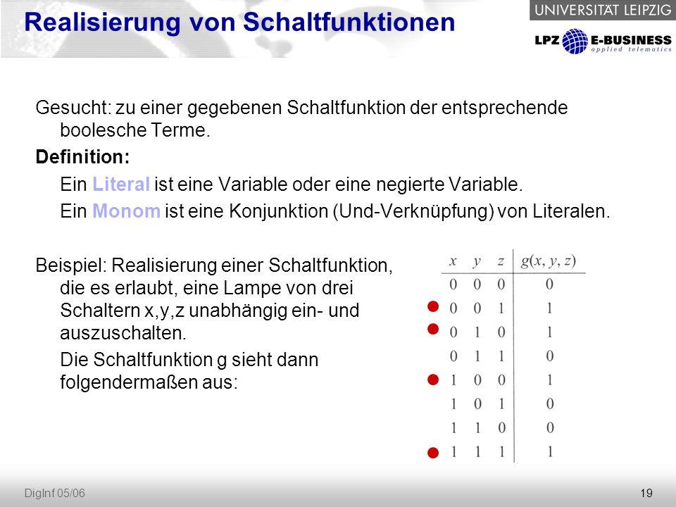 19 DigInf 05/06 Realisierung von Schaltfunktionen Gesucht: zu einer gegebenen Schaltfunktion der entsprechende boolesche Terme.