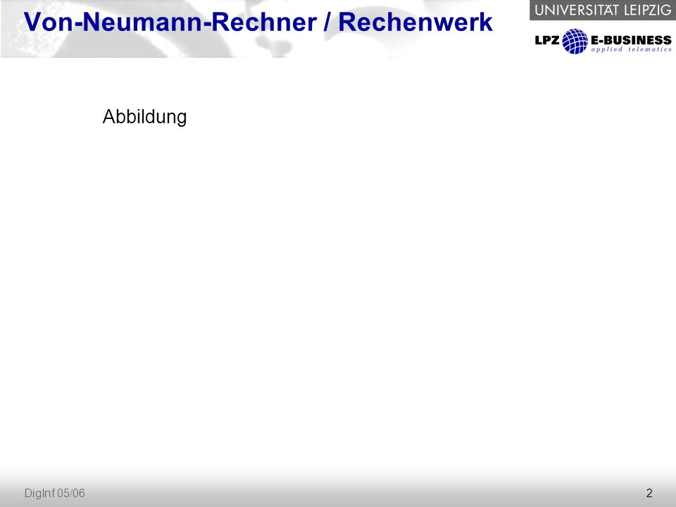2 DigInf 05/06 Von-Neumann-Rechner / Rechenwerk Abbildung