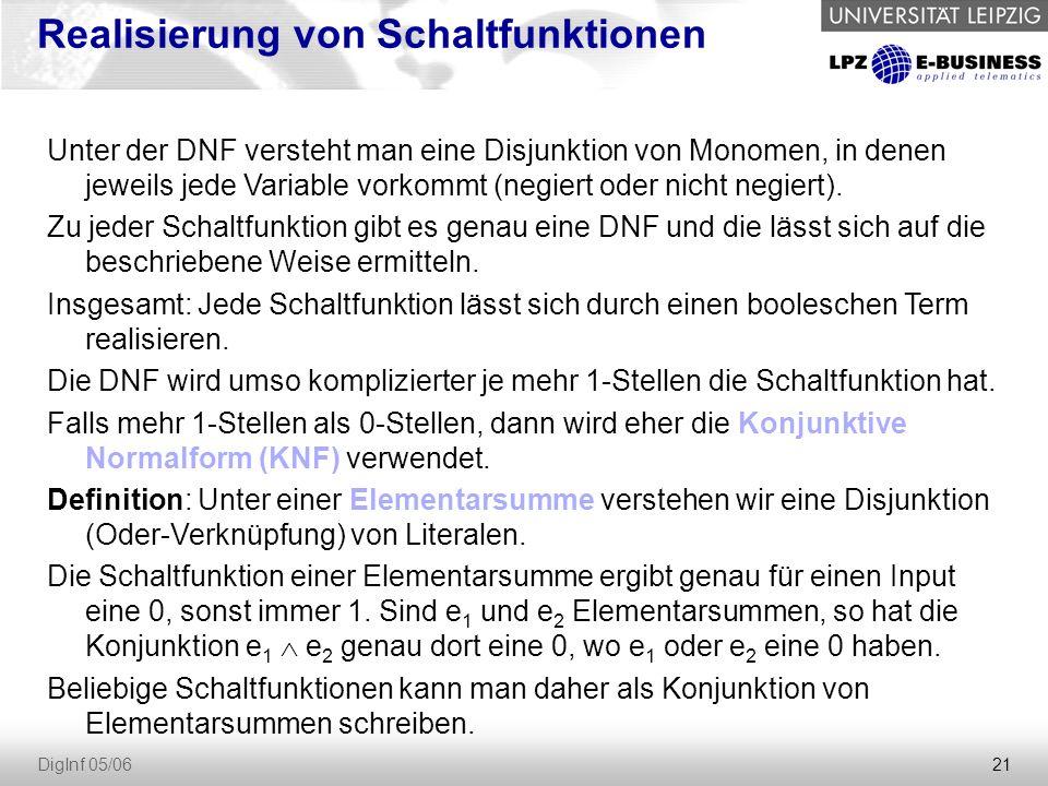21 DigInf 05/06 Realisierung von Schaltfunktionen Unter der DNF versteht man eine Disjunktion von Monomen, in denen jeweils jede Variable vorkommt (negiert oder nicht negiert).