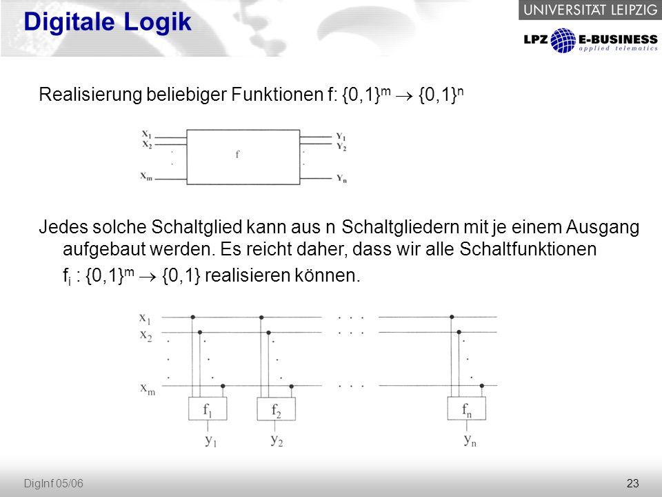 23 DigInf 05/06 Digitale Logik Realisierung beliebiger Funktionen f: {0,1} m  {0,1} n Jedes solche Schaltglied kann aus n Schaltgliedern mit je einem Ausgang aufgebaut werden.