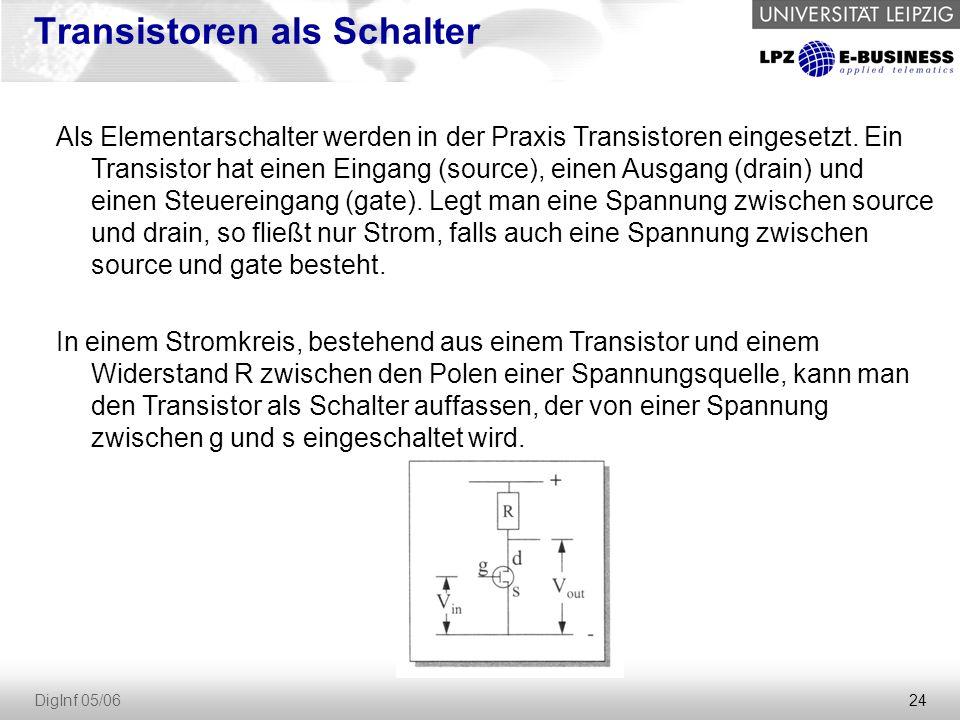 24 DigInf 05/06 Transistoren als Schalter Als Elementarschalter werden in der Praxis Transistoren eingesetzt.