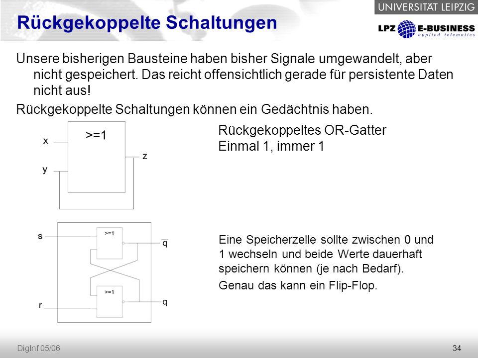 34 DigInf 05/06 Rückgekoppelte Schaltungen Unsere bisherigen Bausteine haben bisher Signale umgewandelt, aber nicht gespeichert.